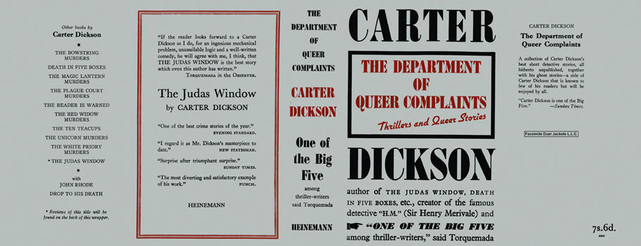 Department of Queer Complaints, The. Carter Dickson.