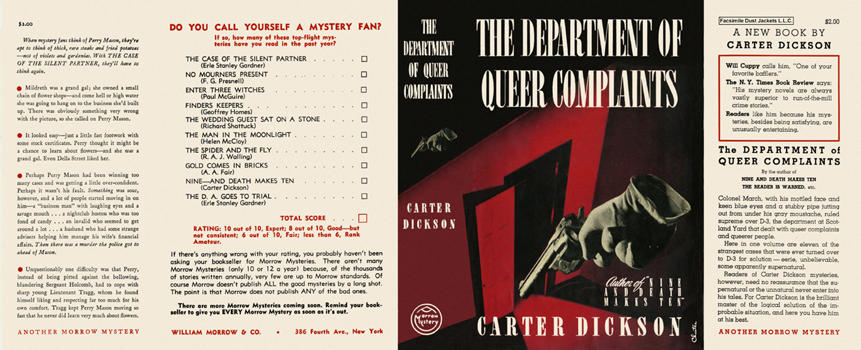 Department of Queer Complaints, The. Carter Dickson