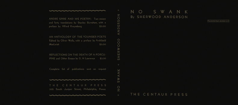 No Swank. Sherwood Anderson