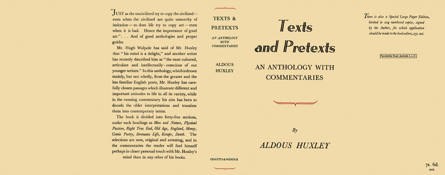 Texts and Pretexts - An Anthology with Commentaries. Aldous Huxley