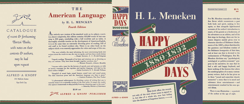 Happy Days 1880 - 1892. H. L. Mencken