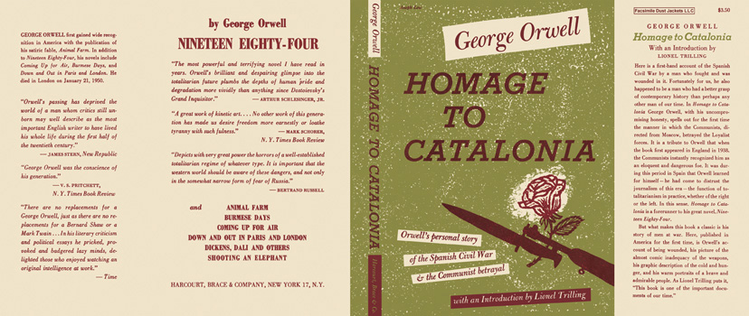 a book review of george orwells homage to catalonia Chapter 14 describes orwell's visit, with his wife, to a friend, george kopp, who was being held in prison others suffer worse fates: mcnair and cottmantold.