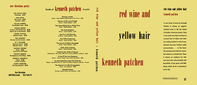 Red Wine and Yellow Hair. Kenneth Patchen.