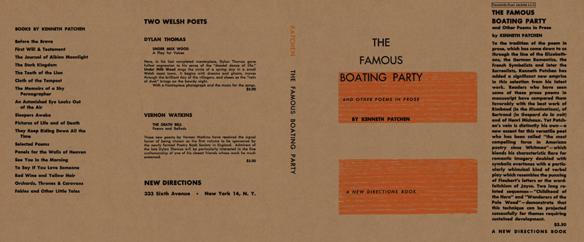 Famous Boating Party and Other Poems in Prose, The. Kenneth Patchen