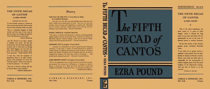Fifth Decad of Cantos, The. Ezra Pound