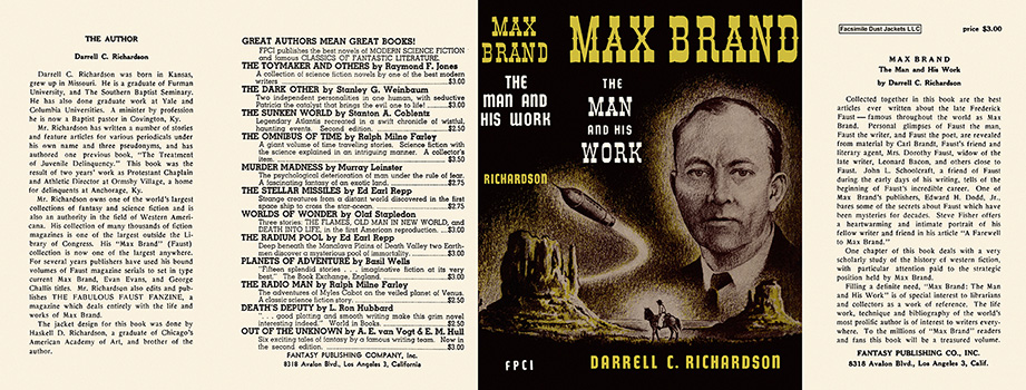 Max Brand, The Man and His Work. Darrell C. Richardson