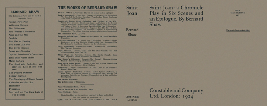Saint Joan: A Chronicle Play in Six Scenes and an Epilogue. George Bernard Shaw