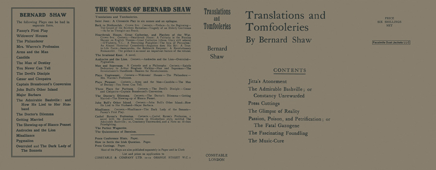 Translations and Tomfooleries. George Bernard Shaw