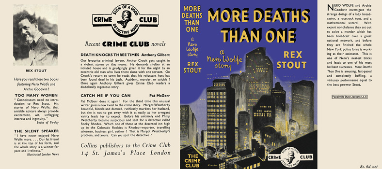 More Deaths Than One. Rex Stout.