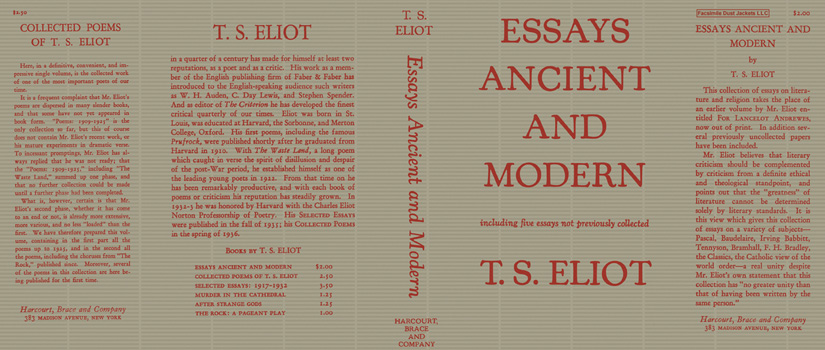 Essays Ancient and Modern. T. S. Eliot