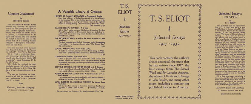 Selected Essays 1917 - 1932. T. S. Eliot