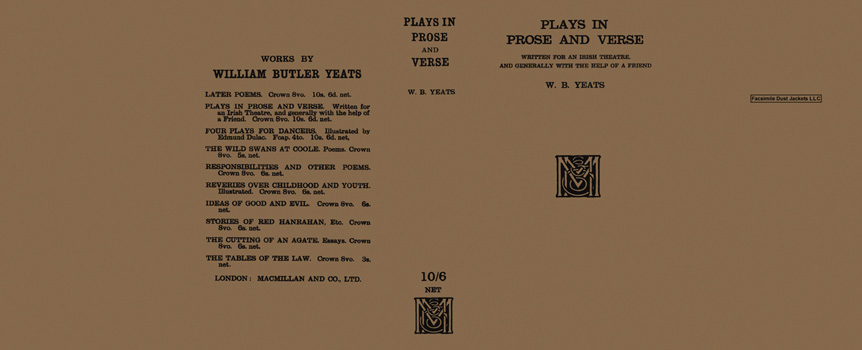 Plays in Prose and Verse. W. B. Yeats