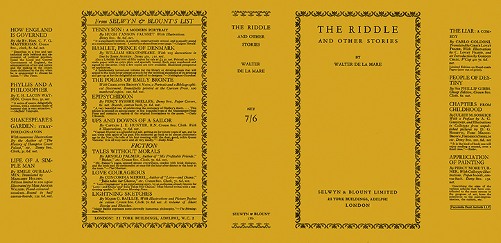 Riddle and Other Stories, The. Walter de la Mare.