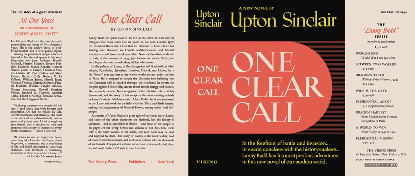 One Clear Call. Upton Sinclair.