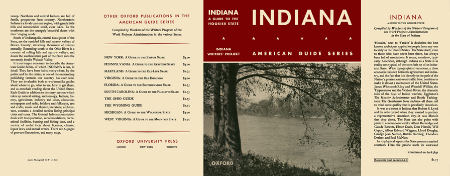Indiana, A Guide to the Hoosier State. American Guide Series, WPA.