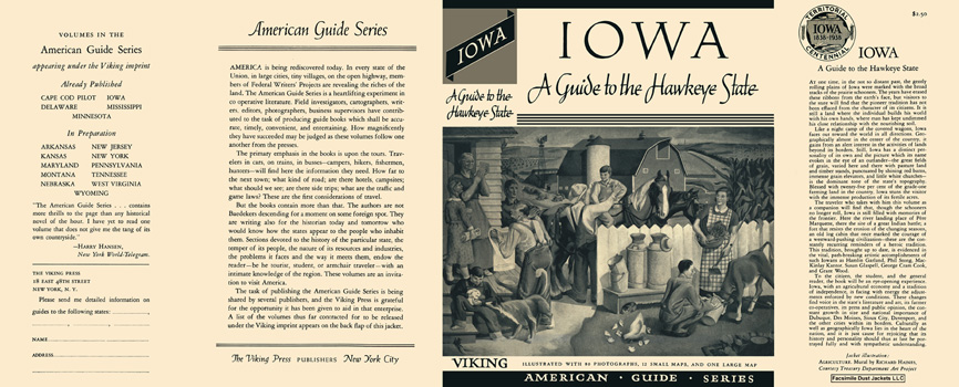 Iowa, A Guide to the Hawkeye State. American Guide Series, WPA
