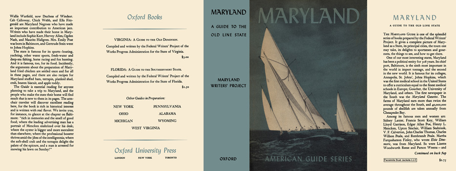 Maryland, A Guide to the Old Line State. American Guide Series, WPA
