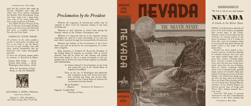 Nevada, A Guide to the Silver State. American Guide Series, WPA