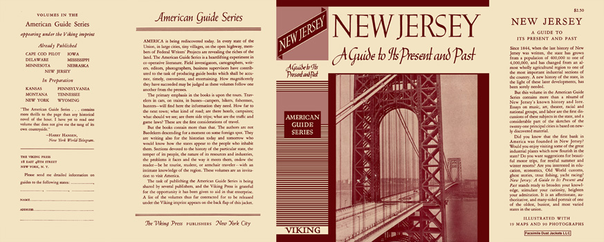 New Jersey, A Guide to Its Present and Past. American Guide Series, WPA