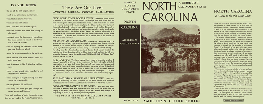 North Carolina, A Guide to the Old North State. American Guide Series, WPA