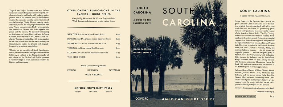 South Carolina, A Guide to the Palmetto State. American Guide Series, WPA
