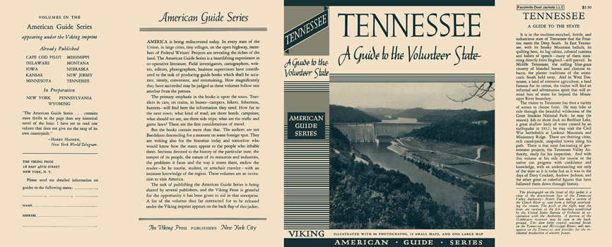 Tennessee, A Guide to the Volunteer State. American Guide Series, WPA