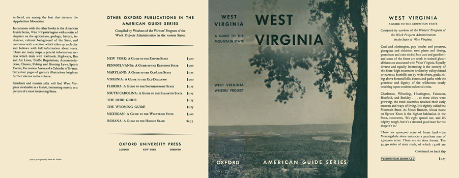 West Virginia, A Guide to the Mountain State. American Guide Series, WPA