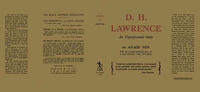 D. H . Lawrence, An Unprofessional Study. Anais Nin