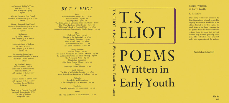 Poems Written in Early Youth. T. S. Eliot