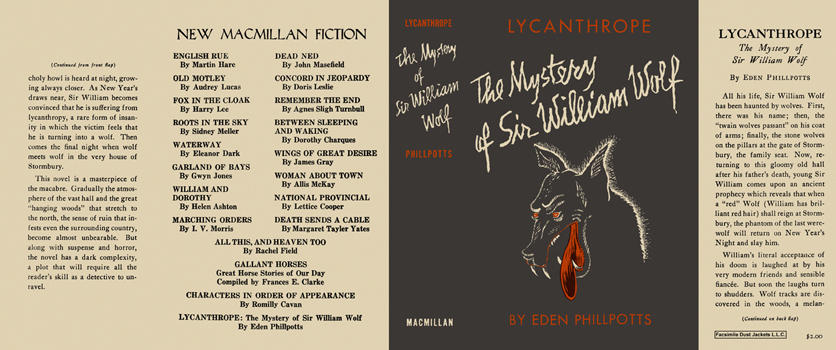 Lycanthrope, Mystery of Sir William Wolf, The. Eden Phillpotts.