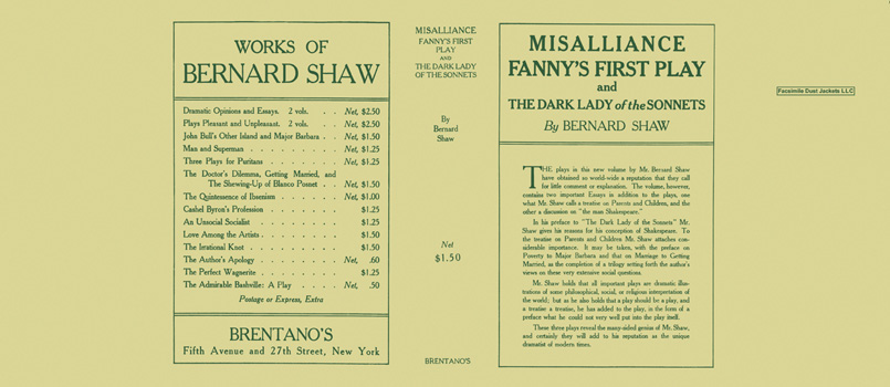 Misalliance, Fanny's First Play and The Dark Lady of the Sonnets. George Bernard Shaw