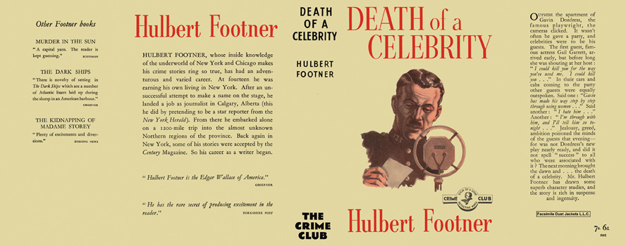 Death of a Celebrity. Hulbert Footner.
