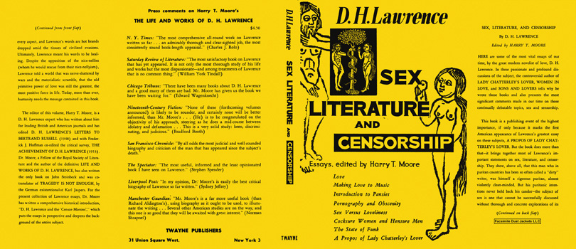 Sex, Literature, and Censorship. D. H. Lawrence.