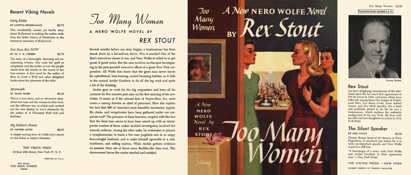 Too Many Women. Rex Stout.