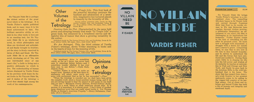 No Villain Need Be. Vardis Fisher.