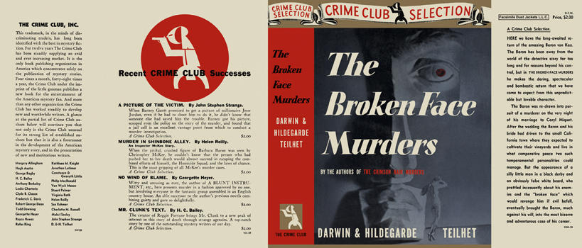 Broken Face Murders, The. Darwin L. Teilhet, Hildegarde Teilhet.