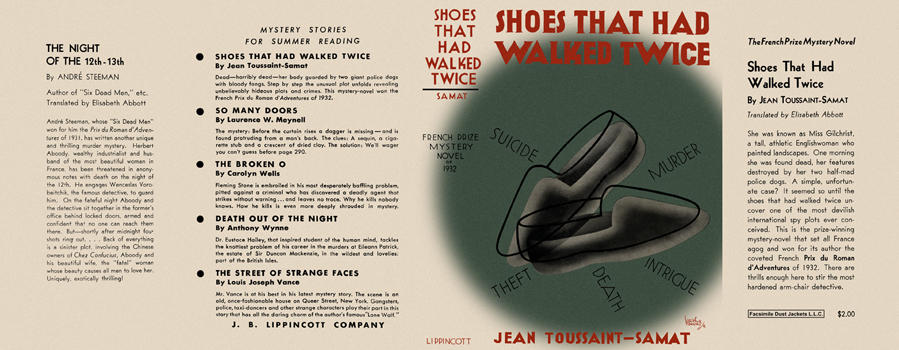 Shoes That Had Walked Twice. Jean Toussaint-Samat.