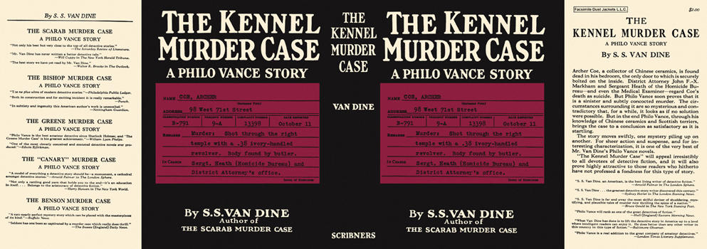 Kennel Murder Case, The. S. S. Van Dine.