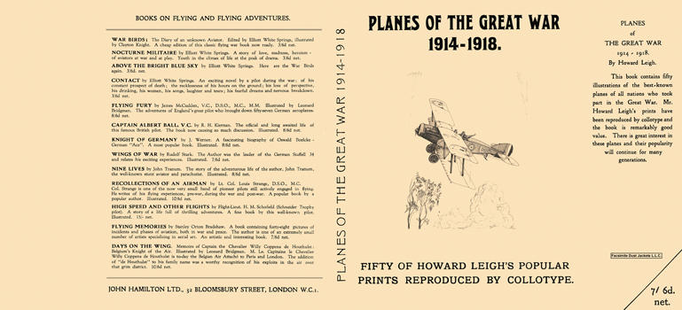 Planes of the Great War, 1914-1918. Howard Leigh.