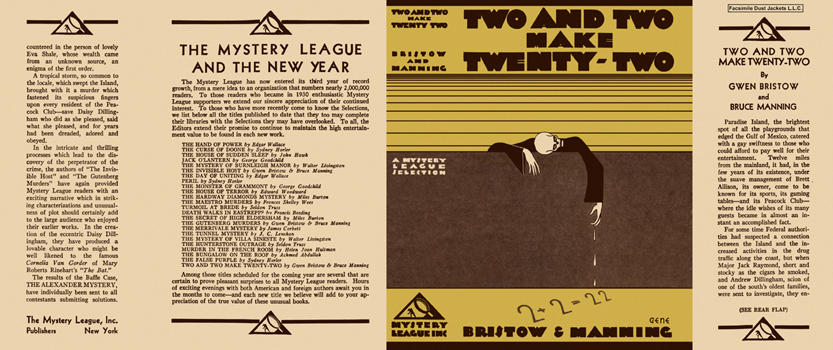 Two and Two Make Twenty-Two. Gwen Bristow, Bruce Manning.