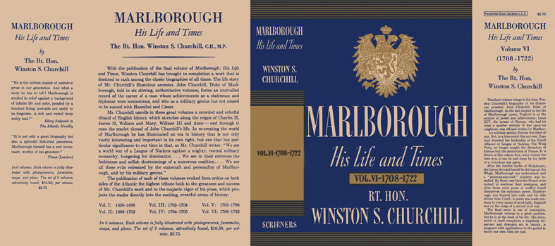 Marlborough, His Life and Times Volume VI - 1708 - 1722. Winston S. Churchill.