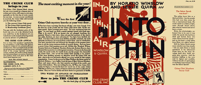 Into Thin Air. Horatio Winslow, Leslie Quirk.