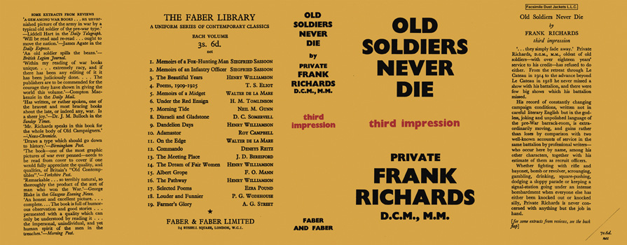 Old Soldiers Never Die. Private Frank Richards.