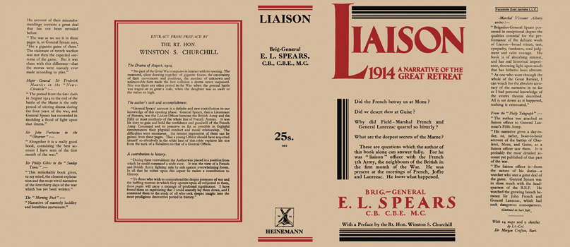 Liaison 1914, A Narrative of the Great Retreat. E. L. Spears.