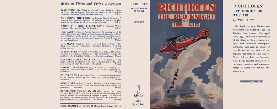 Richthofen, The Red Knight of the Air. Claude W. Sykes, Vigilant