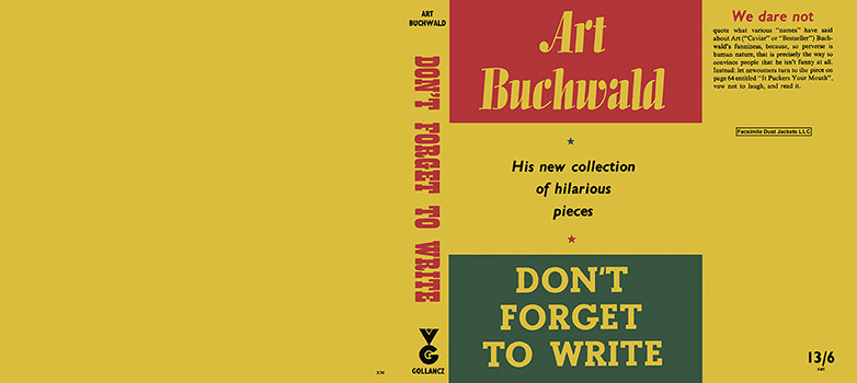 Don't Forget to Write. Art Buchwald