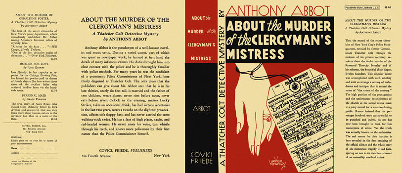 About the Murder of the Clergyman's Mistress. Anthony Abbot