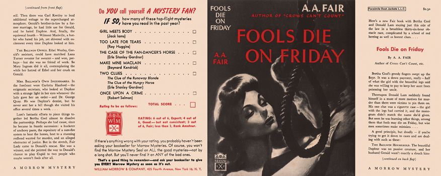 Fools Die on Friday. A. A. Fair