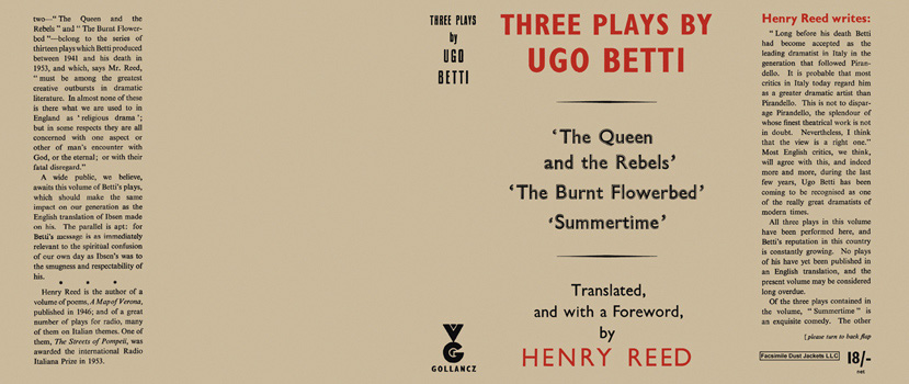 Three Plays: The Queen and the Rebels; The Burnt Flowerbed; Summertime. Ugo Betti.