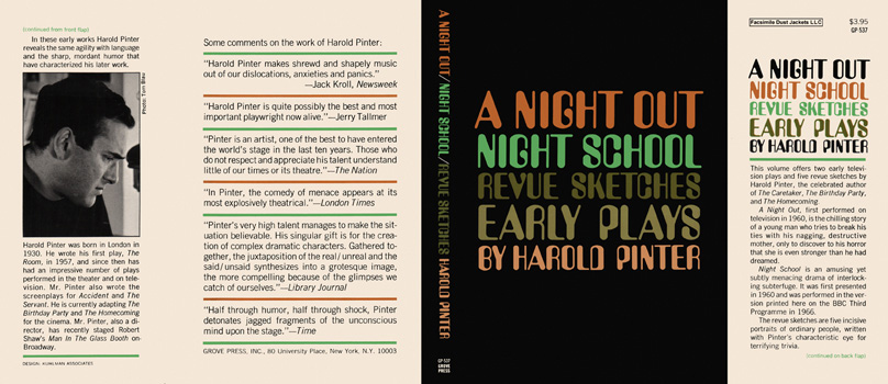 Night Out, Night School, Revue Sketches, and Early Plays, A. Harold Pinter